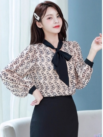 Retro 2 Colors Tie Collar Rings Prints Puff Sleeve Blouse