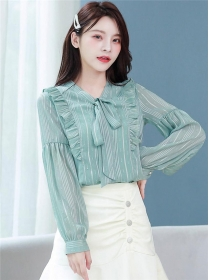 Spring Hot Selling Tie Collar Stripes Flouncing Blouse