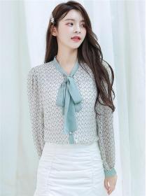 Fashion Korea Tie Collar Waves Stripes Chiffon Blouse