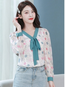 Lovely Wholesale Tie V-neck Dots Puff Sleeve Blouse