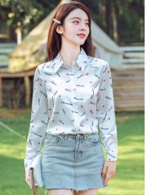 Wholesale Korea Shirt Collar Letters Hearts Blouse