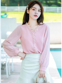 Lovely Fashion 2 Colors Buttons V-neck Pleated Sleeve Blouse