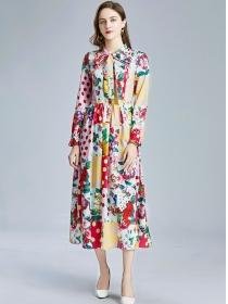 Charming Lady Tie Bowknot Dots Flowers Maxi Dress