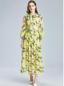 Europe Spring Tie Collar High Waist Flowers Maxi Dress