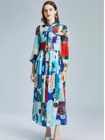 Charming Lady High Waist Tie Collar Flowers Chiffon Dress