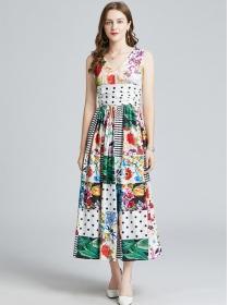 Europe Stylish High Waist V-neck Flowers Tank Long Dress