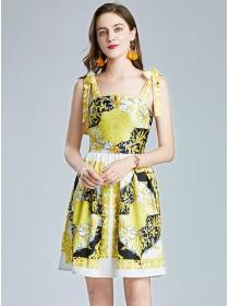 Wholesale Stylish Tie Straps Flowers A-line Dress