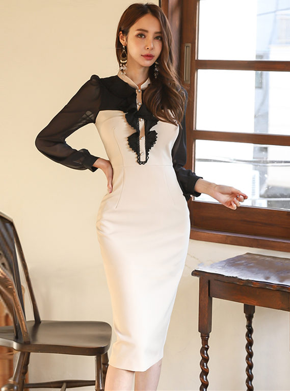 Retro Korea Flouncing Color Block Long Sleeve Slim Dress