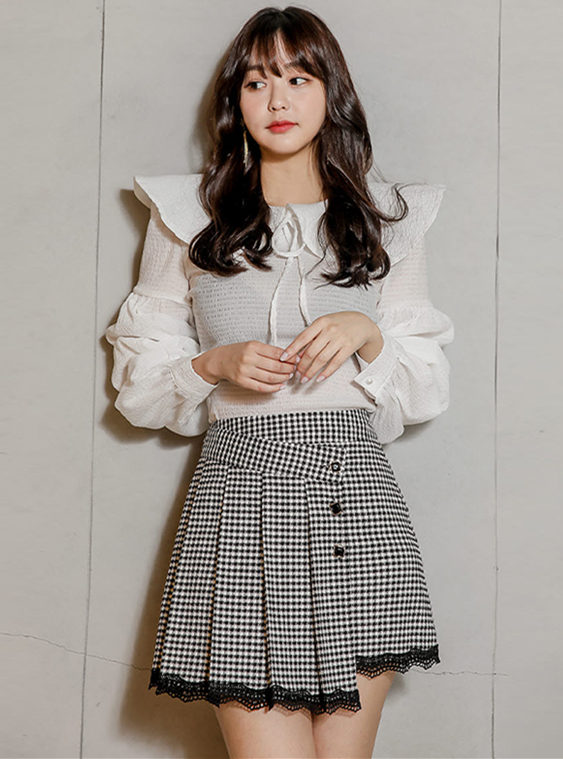 Pretty New Puff Sleeve Wraps Blouse with Houndstooth Skirt