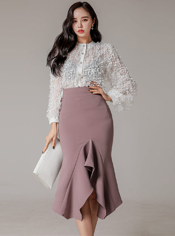 Spring Fashion Tassels Puff Sleeve Blouse with Fishtail Midi Skirt