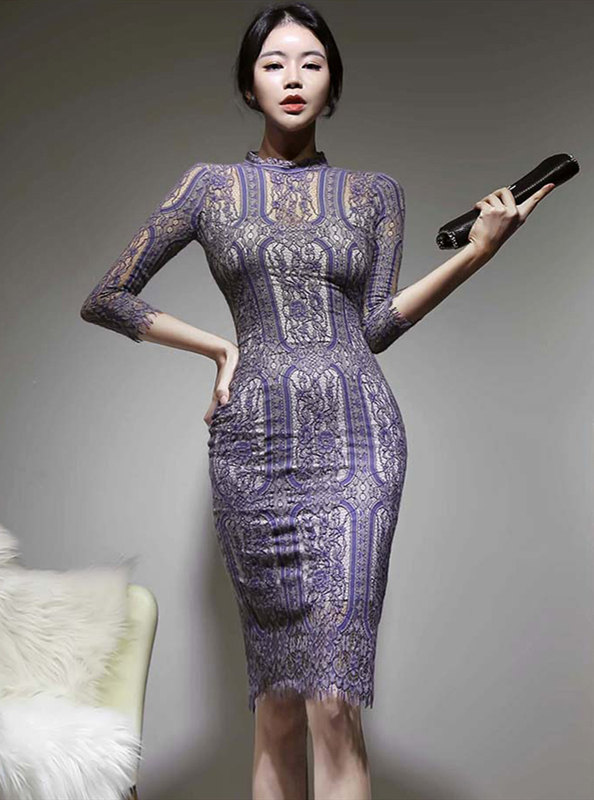 Elegant Lady Lace Flowers Slim Long Sleeve Dress