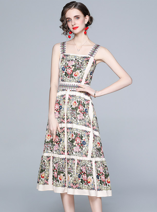 Europe Stylish High Waist Flowers Straps A-line Dress