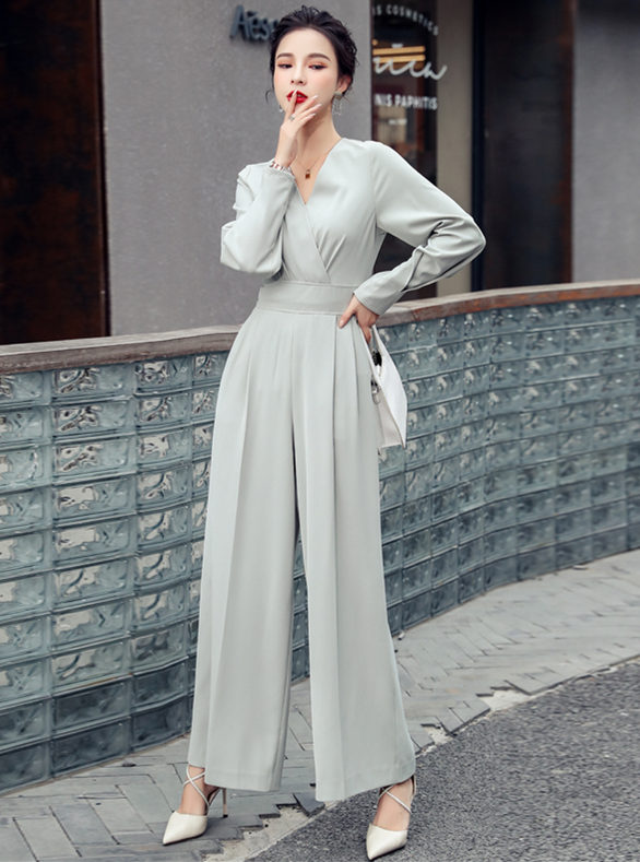 Wholesale Korea High Waist V-neck Wide-leg Long Jumpsuit