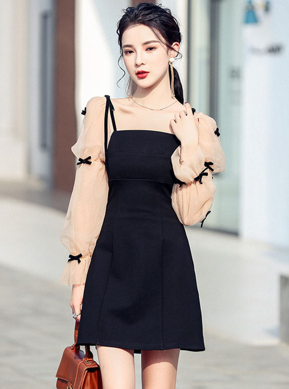 Wholesale Korea Gauze Puff Sleeve Splicing A-line Dress