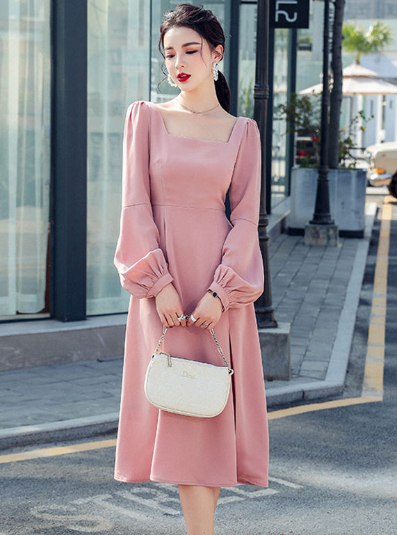 Simple Fashion 2 Colors Square Collar Puff Sleeve Dress