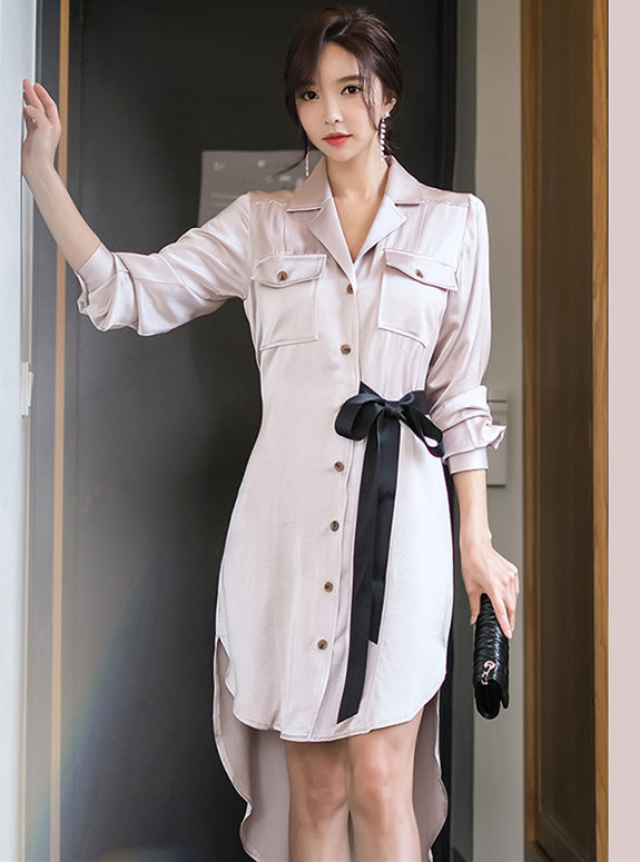 Wholesale Spring Tie Waist Single-breasted Shirt Dress