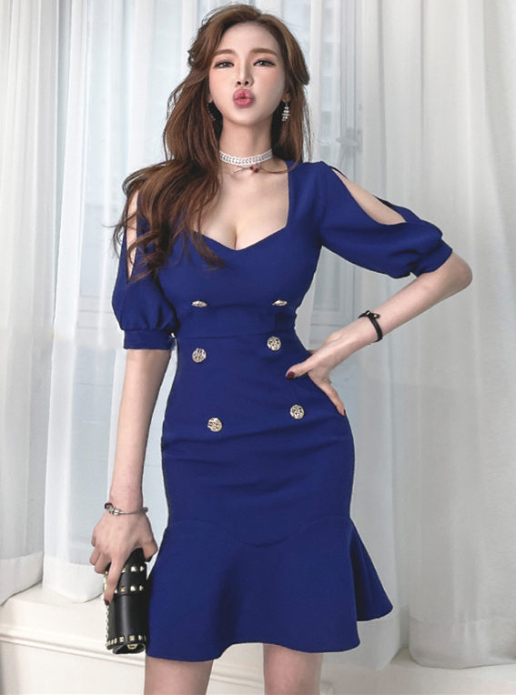 Sexy Low Bust Off Shoulder Double-breasted Fishtail Dress