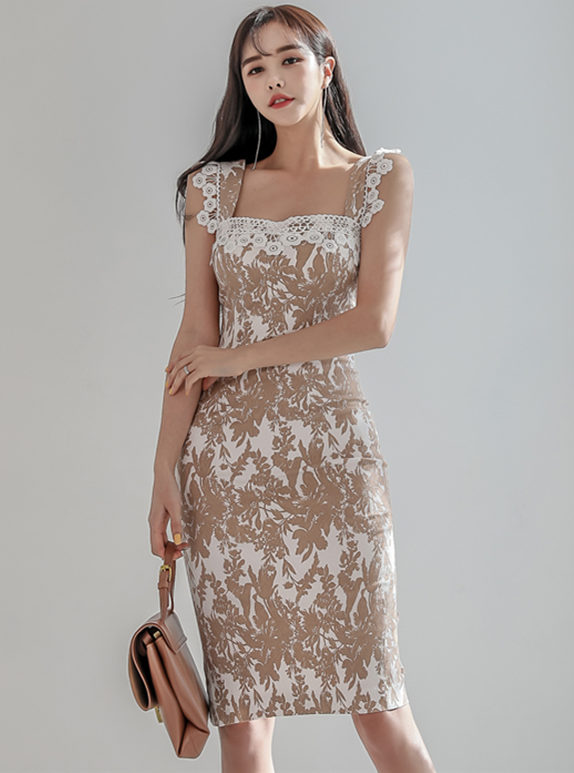 Grace Lady Lace Flowers Straps Slim Velvet Dress