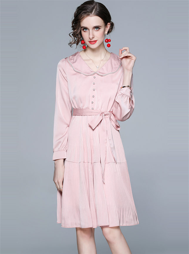 Elegant Lady Doll Collar Tie Waist Pleated Dress