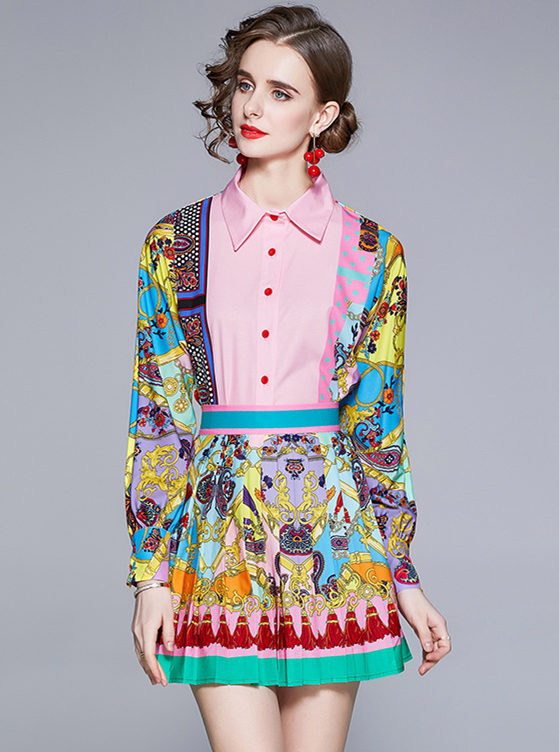 Spring New Color Block Flowers Blouse with Pleated Skirt