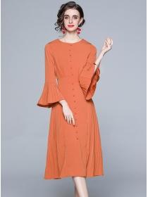 Retro Wholesale Flare Sleeve Single-breasted Pleated Dress