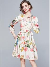 Europe Charming V-neck Tie Waist Flowers Dress