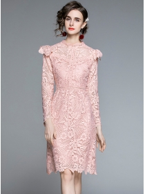Europe Grace Flowers Hollow Out Lace Slim Dress