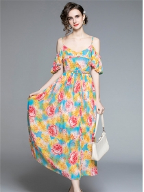 Charming New Flouncing Off Shoulder Flowers Pleated Dress