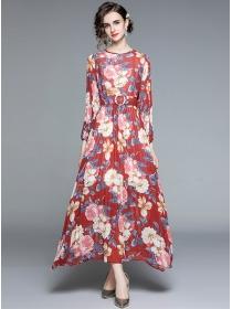 Bohemia Fashion Belt Waist Pleated Flowers Maxi Dress