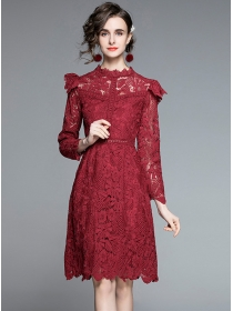 Modern Europe Hollow Out Flowers Lace A-line Dress