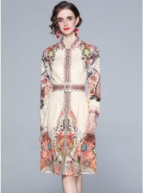 Retro Europe Shirt Collar Flowers Long Sleeve A-line Dress