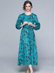 Reteo Hot Selling Tie Waist Puff Sleeve Flowers Maxi Dress