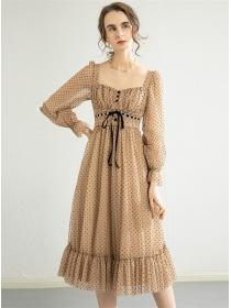 Elegant Lady Tie Waist Square Collar Dots Fluffy Dress