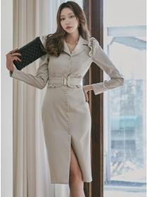 Quality New Single-breasted Shirt Collar Slim Dress