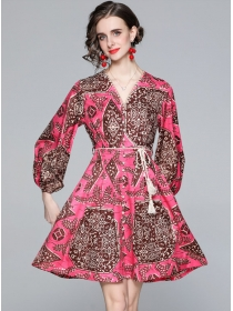 Charming Lady V-neck Tie Waist Flowers Puff Sleeve Dress