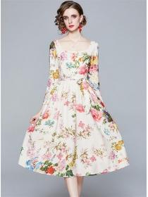 Charming Spring Square Collar Tie Waist Flowers Dress