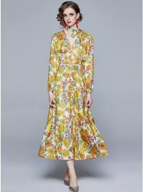 Europe Stylish V-neck Single-breasted Flowers Maxi Dress