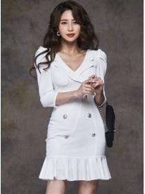 Korea OL Tailored Collar Double-breasted Fishtail Dress
