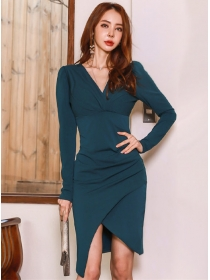 Wholesale Spring V-neck High Waist Split Slim Dress