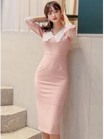Elegant Fashion Lace Doll Collar Bodycon Dress