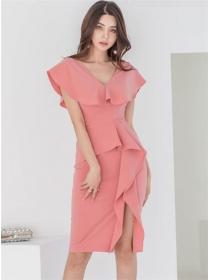 Spring New Flouncing V-neck Split Bodycon Dress