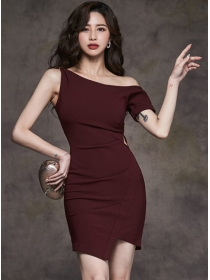 Sexy Wholesale Off Shoulder Pleated Skinny Tank Dress