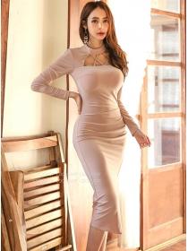 Wholesale Korea Off Shoulder Pleated Bodycon Dress
