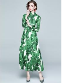 Europe Stylish High Waist Leaves Printings Maxi Dress