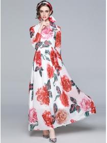 Charming Spring Flowers High Waist Chiffon Maxi Dress