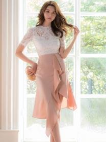 Korea Grace Lace Blouse with High Waist Flouncing Skirt