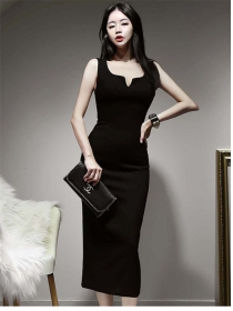 Wholesale Korea V-neck Fitted Waist Bodycon Tank Dress