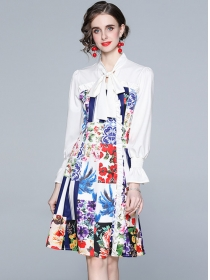 Spring Europe Tie Collar Flowers Flare Sleeve A-line Dress