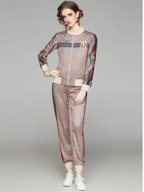 Spring Fashion Flowers Zipper Open Slim Long Suits