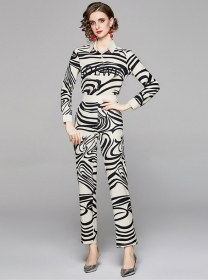 Retro Wholesale Zebra Stripes High Waist Shirt Collar Long Suits